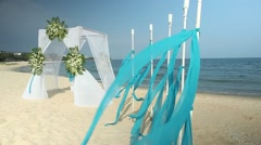 Wedding arch on the beach - stock footage