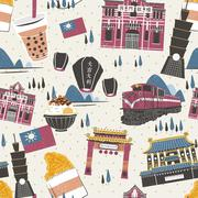 Taiwan attractions collection - stock illustration