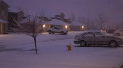 Suburban Residential apartments during winter Snow storm Stock Footage