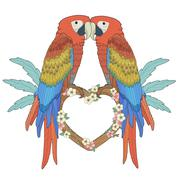 Stock Illustration of adorable parrots