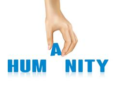 Humanity word taken away by hand Stock Illustration