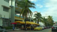 Ocean Drive Hotels Art Deco Style Views Stock Footage