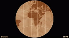 Animated world map in the Gnomonic projection. Gradient. Stock Footage