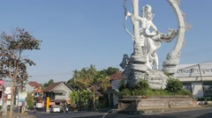 Arjuna statue on road crossroad,Ubud,Bali,Indonesia Stock Footage