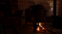 Cooking Stove In A Tibetan House In China Stock Footage