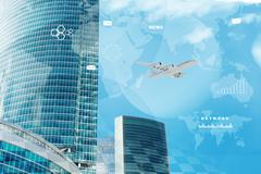 High-rise buildings with jet - stock illustration