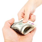Money transfer hands on white background. - stock photo