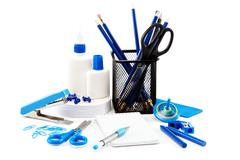 Office and school accessories. Back to school. Stock Photos