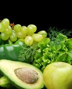 Collection of green vegetables and fruits-lettuce,bell pepper,dill leaves,cuc Stock Photos