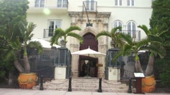 Versace Mansion on Ocean Drive in Miami Beach Drive Views Stock Footage