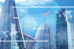 High-rise buildings with jet and numbers - stock illustration