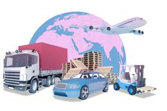 Truck with auto-loader - stock illustration