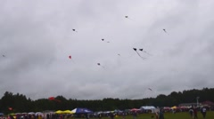 Many kites flying in cloudy sky Stock Footage