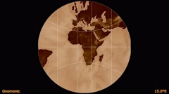 Animated world map in the Gnomonic projection. Luminance blending. Stock Footage