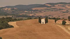 Old church in italian country landscape Stock Footage