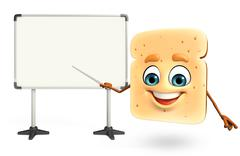 Stock Illustration of Cartoon character of bread with display board