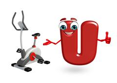 Stock Illustration of Cartoon Character of alphabet U with exercising machine