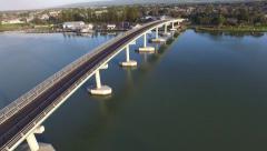 Track back from Hindmarsh Island Bridge Goolwa Stock Footage
