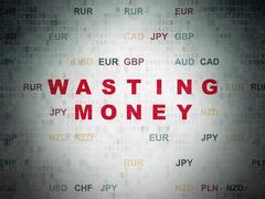 Banking concept: Wasting Money on Digital Paper background - stock illustration
