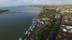 High fly pass Goolwa and Hindmarsh Island Bridge Stock Footage
