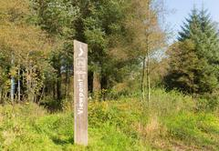 Stock Photo of Viewpoint sign in rural wooded rural area with grass and trees