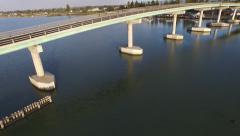 Crane up and right track Hindmarsh Island Bridge Goolwa Stock Footage