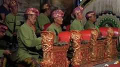 Gamelan musicians at legong and barong dance performance,Ubud,Bali,Indonesia Stock Footage