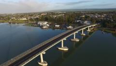 Higher track back Hindmarsh Island Bridge Goolwa Stock Footage
