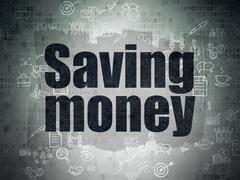 Business concept: Saving Money on Digital Paper background Stock Illustration