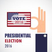 Voting concept.Businessman hand and voting paper with america presidential el - stock illustration
