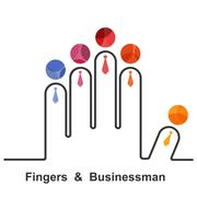 Fingers and businessman logo design vector template.Team,partners,friends or - stock illustration
