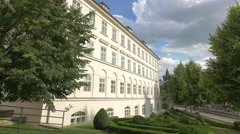 Beautiful garden in front of a builidng located on Alšovo waterfront, Prague Stock Footage
