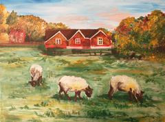 Acrylic painting of three lambs Stock Illustration
