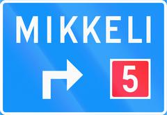 Advance Direction Sign In Finland - Type A - stock illustration