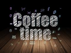 Time concept: Coffee Time in grunge dark room Stock Illustration