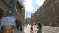 Fabigous Outlet on November 17th Street in Prague Stock Footage