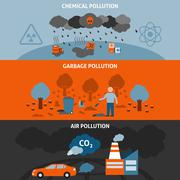 Pollution Banners Set Stock Illustration