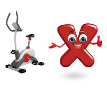 Cartoon Character of alphabet X with exercising machine Stock Illustration