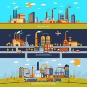 Factory Banner Set - stock illustration
