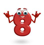 Cartoon character of eight digit Stock Illustration