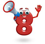 Cartoon character of eight digit with loudspeaker Stock Illustration