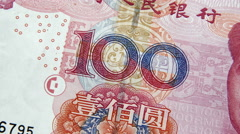 Close Up Chinese One Hundred RMB Yuan Banknote - stock footage