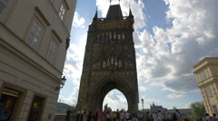 Old Town Bridge Tower -  a beautiful tower at one end of Charles Bridge, Prague Stock Footage