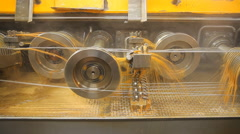 Industrial machine works in a factory Stock Footage