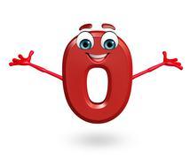 Stock Illustration of Cartoon character of zero digit