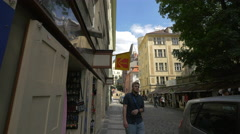 Souvenir shops on U Starého hřbitova street in Prague Stock Footage