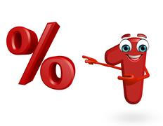 Cartoon character of one digit with percentage sign Stock Illustration