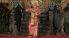 Traditional balinese legong dance by woman,Ubud,Bali,Indonesia Stock Footage