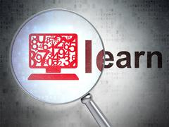 Stock Illustration of Learning concept: Computer Pc and Learn with optical glass