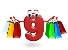 Cartoon character of nine digit with shopping bags Stock Illustration